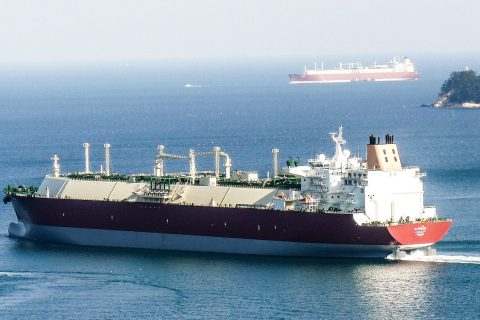 Two Nakilat vessels sailing by each other in international waters.