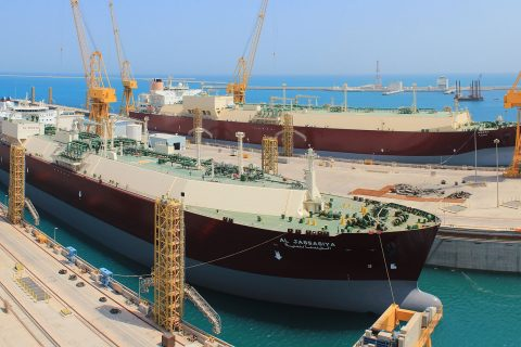 View of 2 Nakilat LNG carriers drydocked at the shipyard