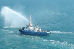 Testing fire-fighting equipment on NSW tugboat