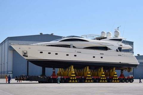A luxury yacht getting ready to be launched
