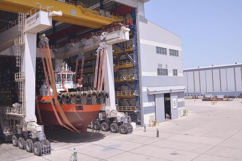 A newbuild tugboat getting ready for launch