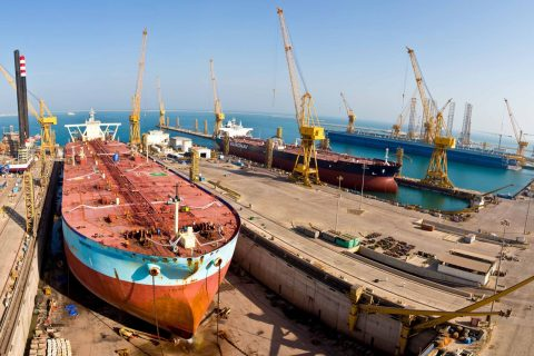 Tankers undergoing dry docking and repairs at N-KOM