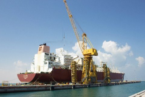 Al Karaana berthed for repairs at the Erhama Bin Jaber Al Jalahma Shipyard
