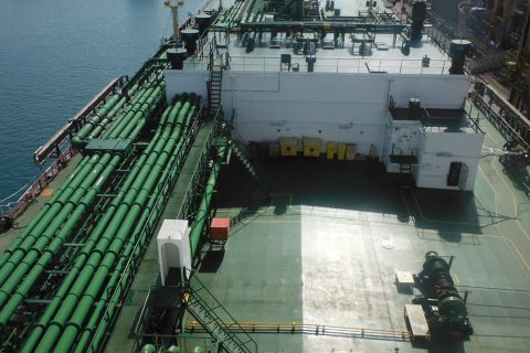 Deck view of a Nakilat LPG carrier